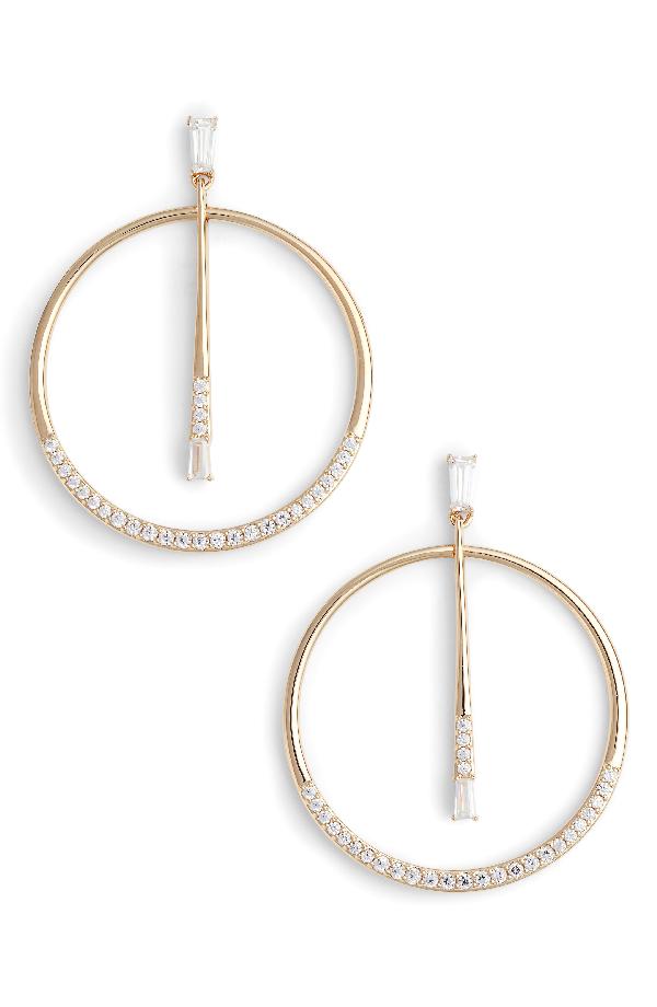 Nadri Cubic Zirconia Frontal Hoop Earrings In Gold/ Clear