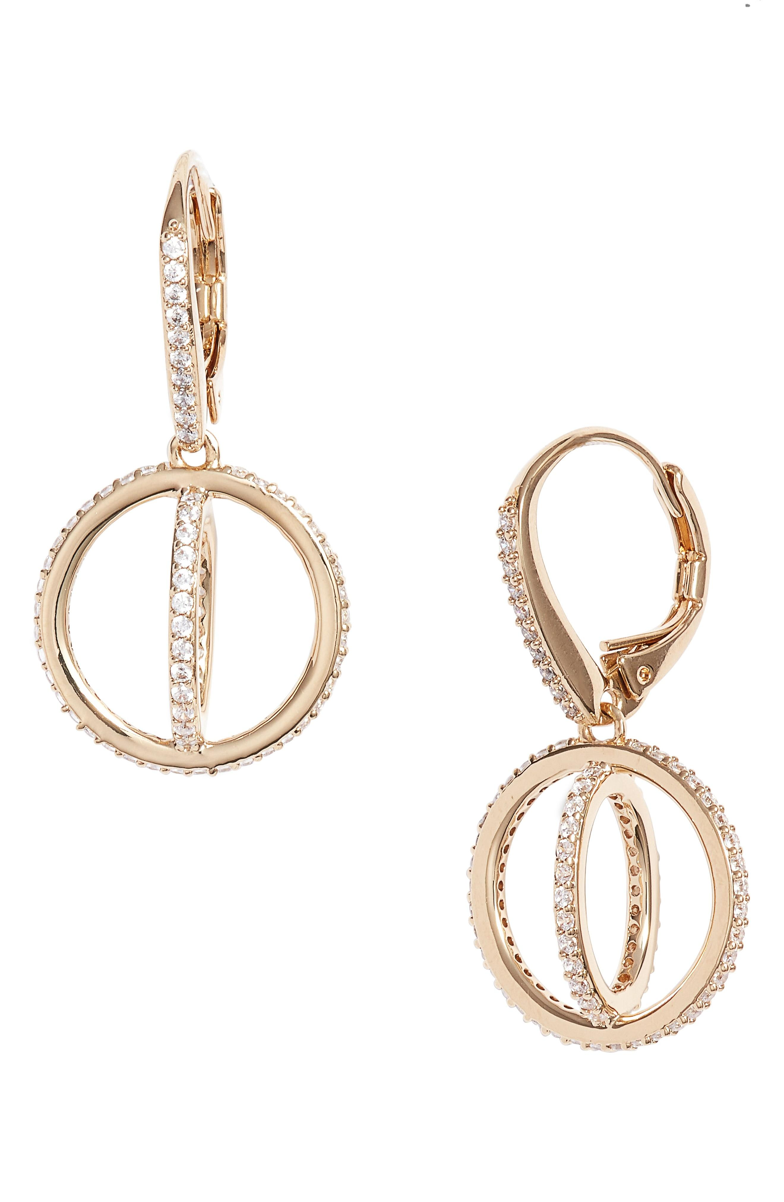 Nadri Crystal Open Circle Drop Earrings In Gold/ Clear