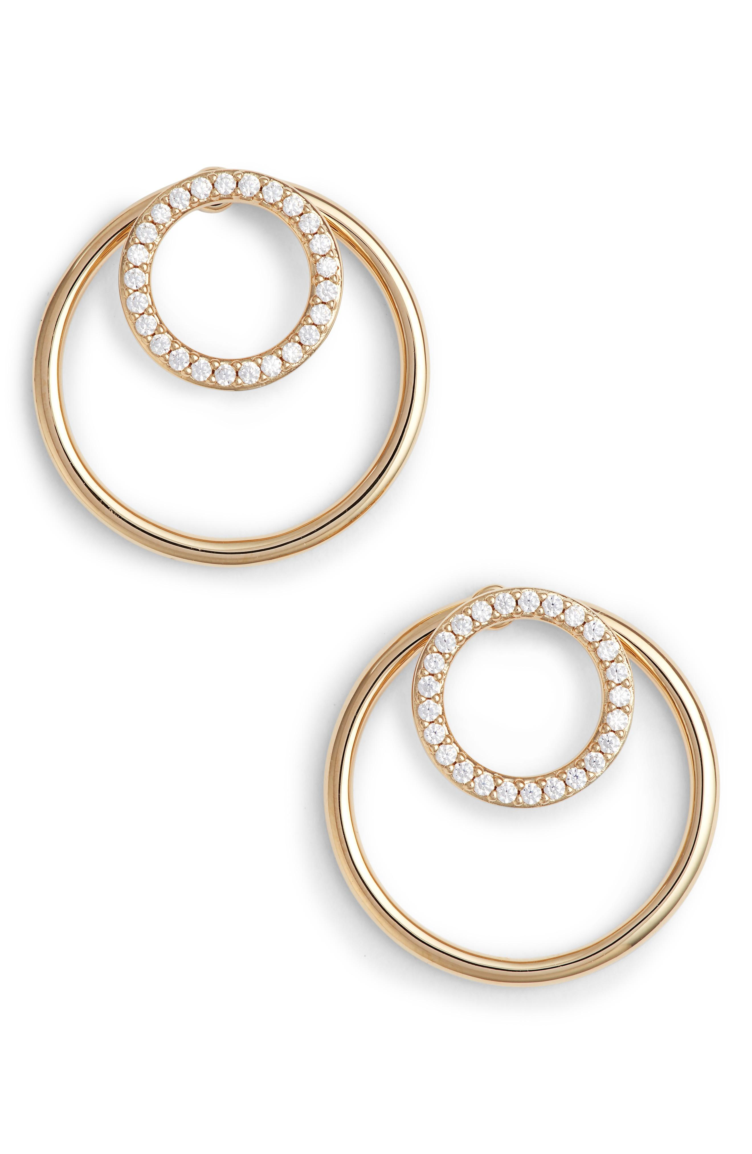 Nadri Pave Double Circle Earrings In Gold/ Clear
