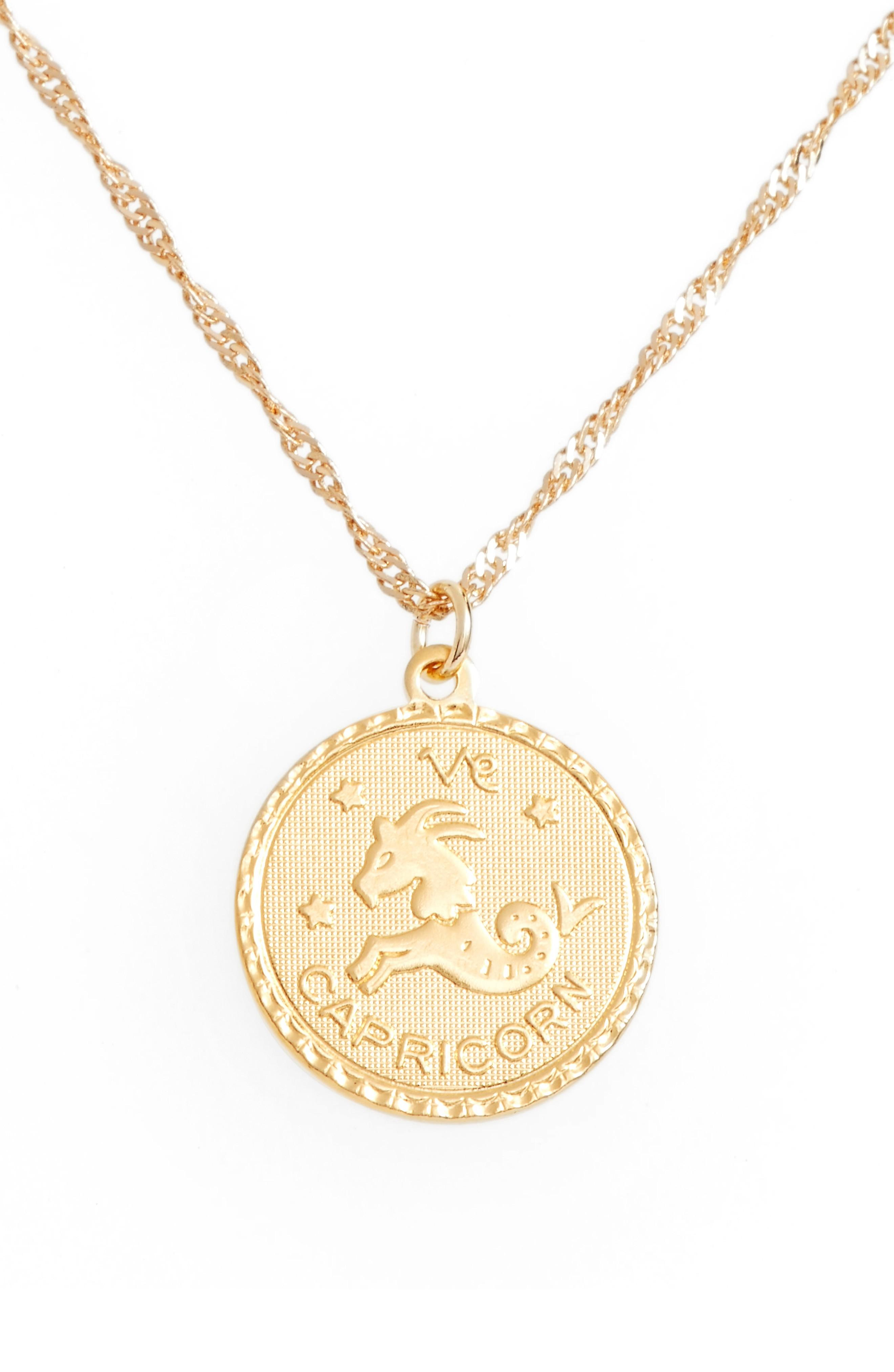 Cam Ascending Zodiac Medallion Necklace In Capricorn
