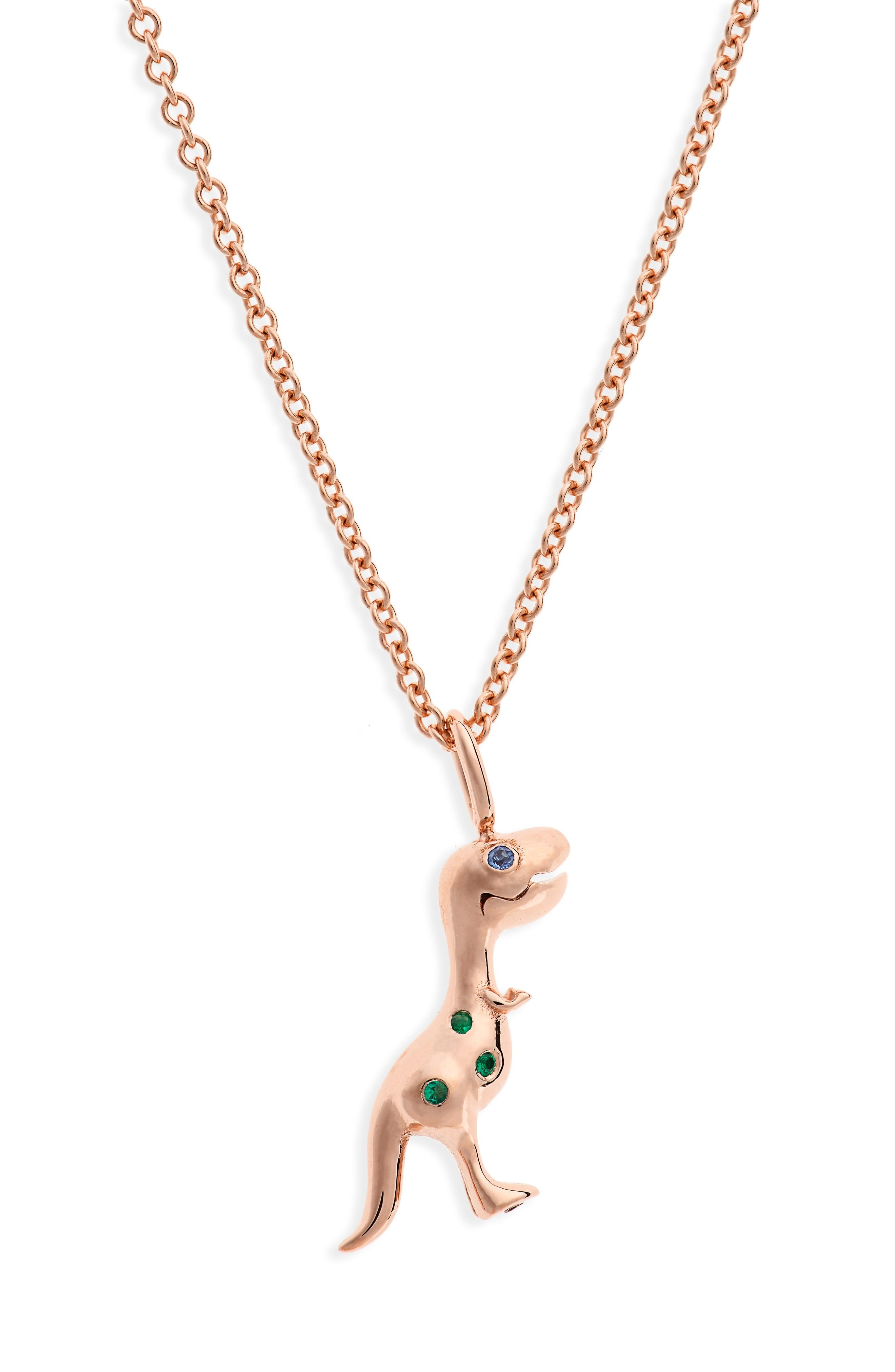 Daniela Villegas X Jurassic Park 25th Anniversary Baby T-rex Sapphire & Emerald Pendant Necklace (nordstrom Exclusive In Pink Gold