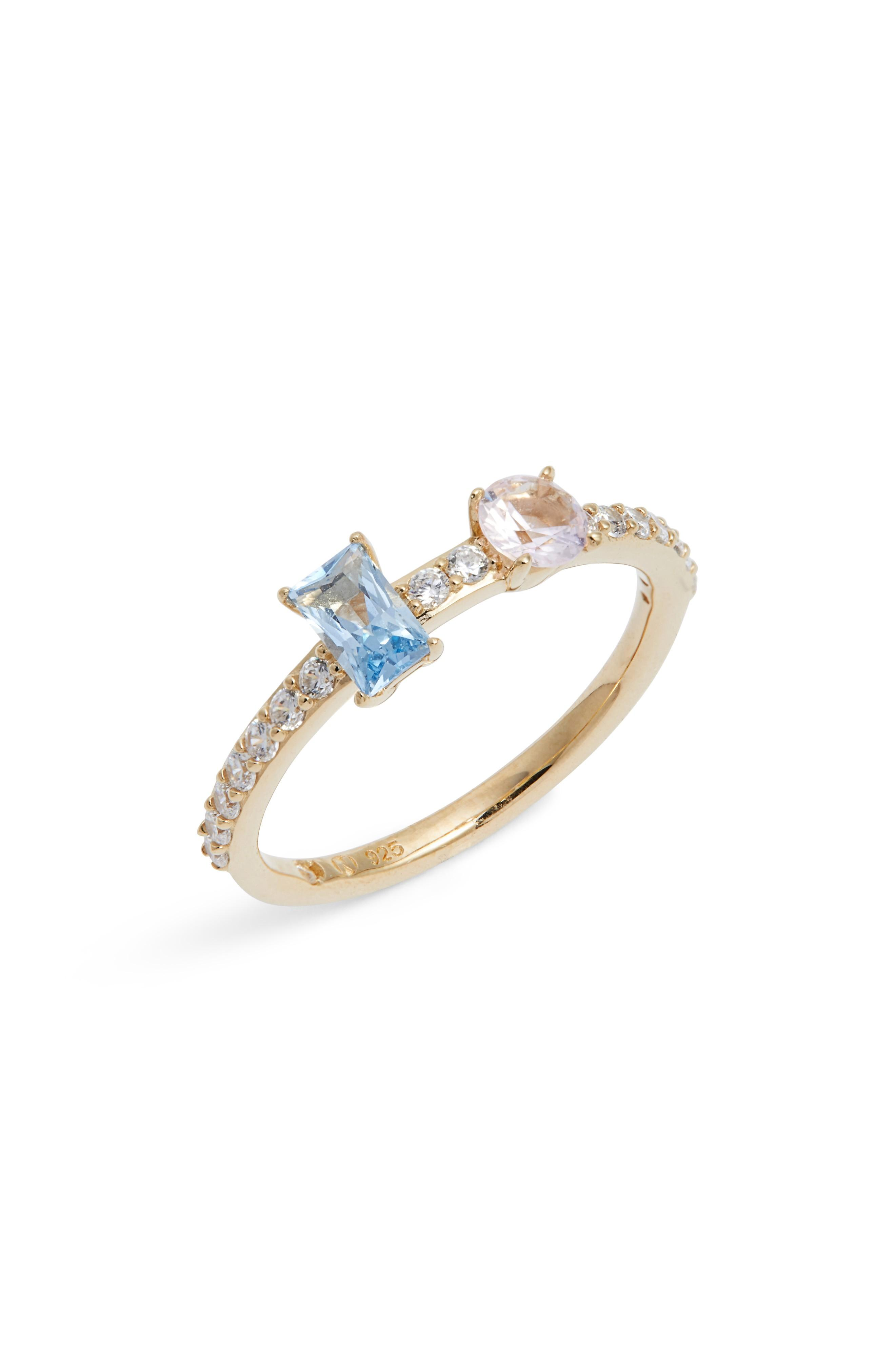 Nadri Two-stone Crystal Ring In Gold