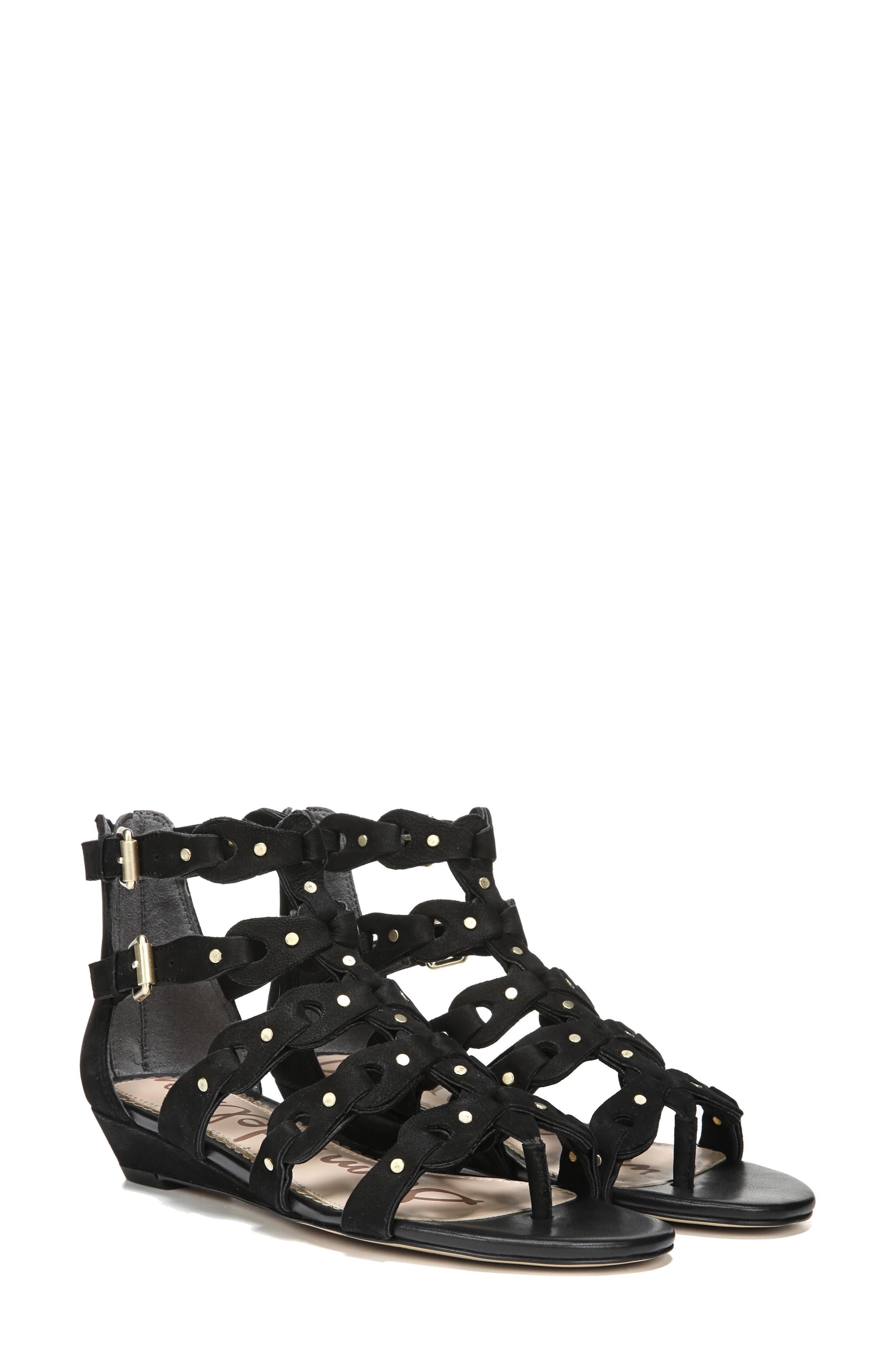 9d41052505f Sam Edelman Draper Cage Sandal In Black Nubuck Leather