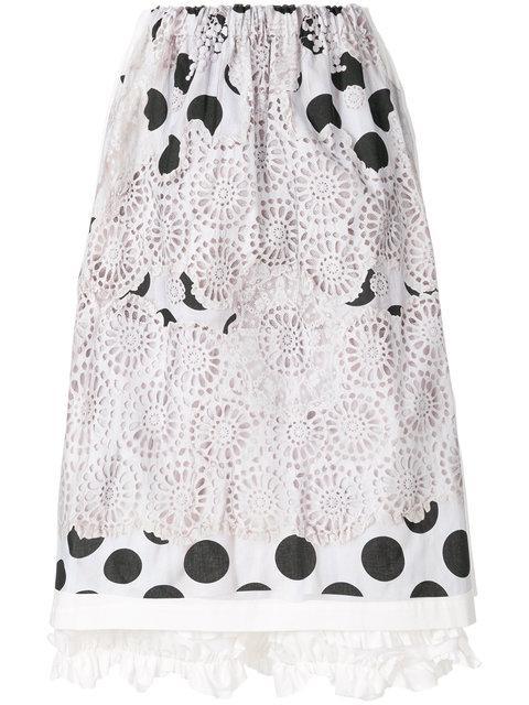 Comme Des GarÇons Comme Des GarÇons Embroidered Polka Dot Skirt - Weiß In White