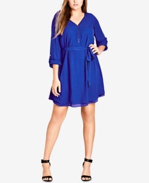 Trendy Plus Size Zip-Front Tunic Dress in Ultra Blue