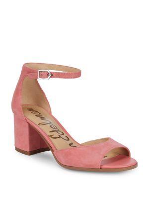 01103b7bd17 Velvety suede wraps this ankle-strap sandal set on trendy block heel