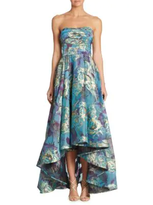 adfa7a34 Marchesa Notte Strapless Floral Fil-Coupe High-Low Gown, Peacock In Blue