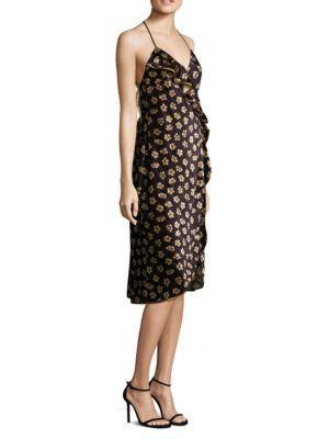 Abs By Allen Schwartz Floral-Print Velvet Wrap Dress In Black Gold