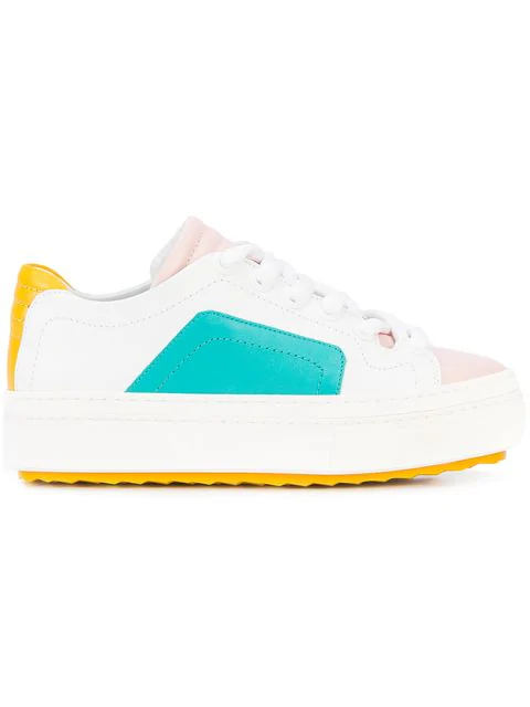 Pierre Hardy Colourblock Lace-Up Sneakers In White