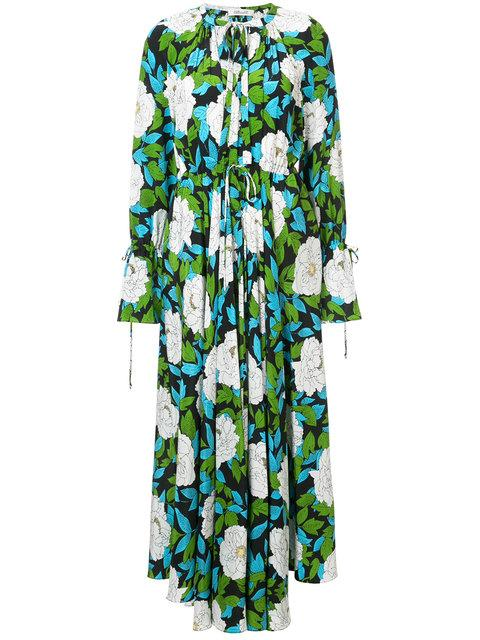 0108f8db Diane Von Furstenberg Dvf Floral Print Long Dress - Green   ModeSens