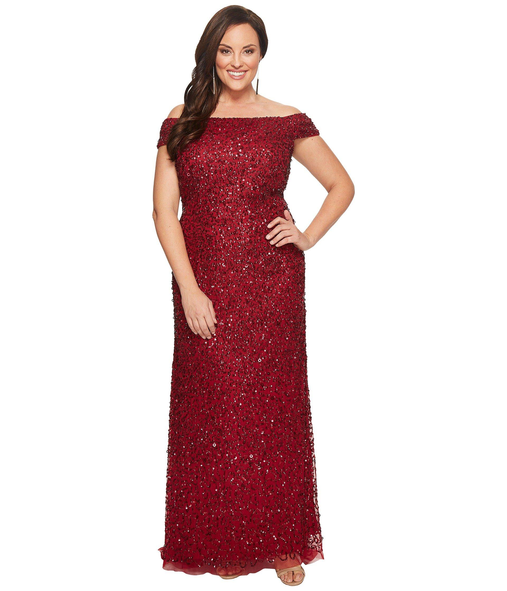 Adrianna Papell Womens Off The Shoulder Crunchy Bead Gown