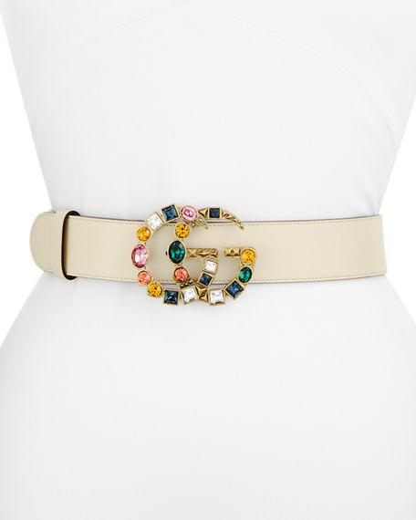 edd62f1e9b6 Gucci Leather Belt With Crystal Double G Buckle In White