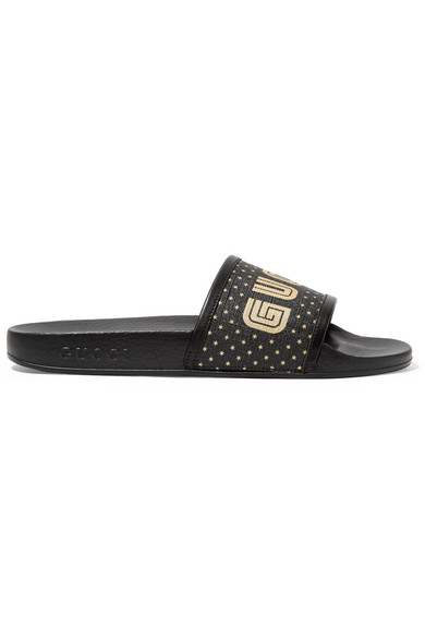 b8c81428ee1526 Gucci Women s Pursuit Star Print Pool Slide Sandals In Black