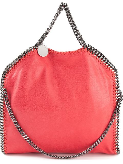 Stella Mccartney Pink Faux Suede 'Falabella' Braided Chain Detail Mini Shoulder Bag