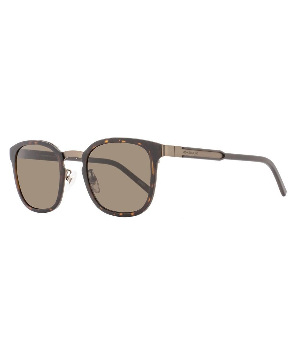 06dbddb8a0 Montblanc Square Sunglasses Mb603F 52E Matte Havana Bronze 603 ...