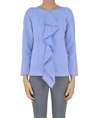 Dondup Women's  Light Blue Linen Blouse