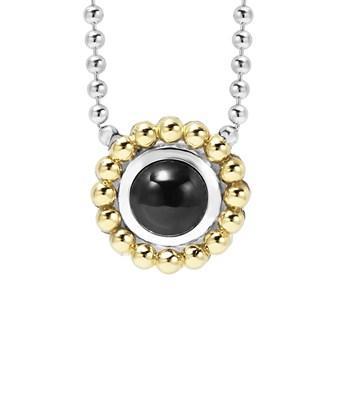 Lagos Signature Color 18k & Silver Onyx Necklace In Nocolor
