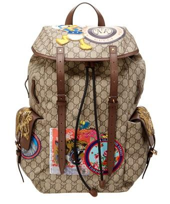 Gucci Soft Gg Supreme Applique Backpack In Brown