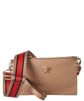 Versace Medusa Leather Pouch In Brown