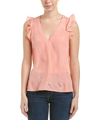 Rebecca Taylor Ruffled Silk V-neck Top In Pink