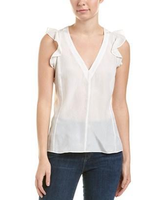 Rebecca Taylor Ruffled Silk V-neck Top In White