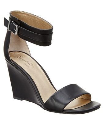 Seychelles Dream Heeled Leather Sandal In Black