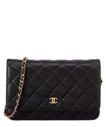 Chanel Black Quilted Caviar Leather Wallet On Chain In Nocolor