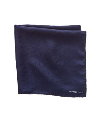 Hermes Navy Silk Pocket Square In Nocolor