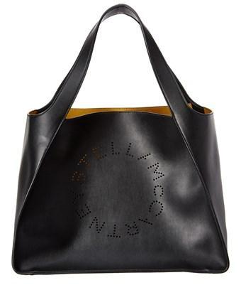 Stella Mccartney Perforated Logo Tote In Black