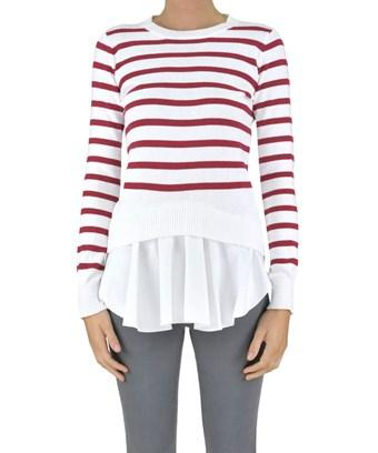 Dondup Women's  White/red Cotton Sweater