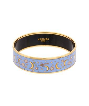 Hermes Purple Printed Enamel Narrow Bangle In Nocolor