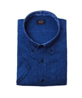Paul & Shark Men's  Blue Linen Shirt