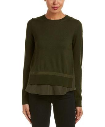 Moncler Twist Knit Wool Sweater In Green