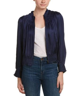 Love Sam Smocked Silk-embroidered Bomber Jacket In Blue