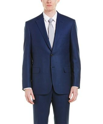 Brioni Wool Suit With Flat Front Pant In Blue