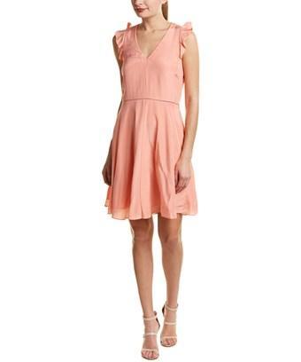 Rebecca Taylor Ruffled Silk A-line Dress In Pink