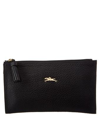 Longchamp Penelope Leather Clutch In Black