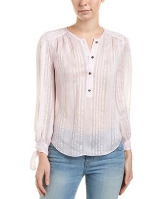Rebecca Taylor Striped Silk Top In Pink