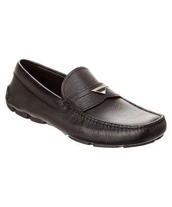 Prada Leather Driving Shoe In Black