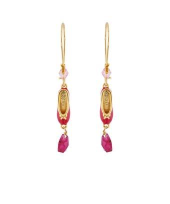 Les Nereides Pas De Deux Grenadine Pink Ballet Shoes Earrings In Fuchsia
