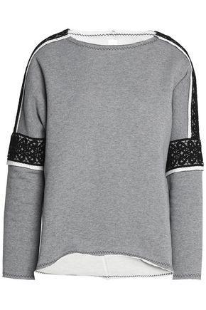 SÀpopa Woman MacramÉ Lace-trimmed Cotton-terry Sweatshirt Gray