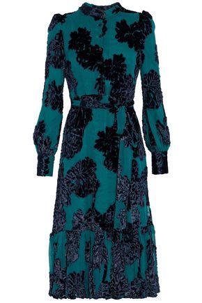 Co Woman Ruffled Flocked Velvet Chiffon Dress Teal