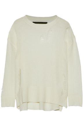Enza Costa Woman Distressed Wool And Cashmere-blend Sweater Ivory