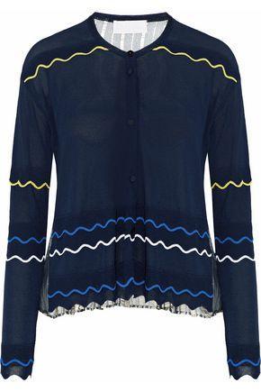 Peter Pilotto Woman Metallic Chiffon-paneled Stretch-knit Cardigan Navy