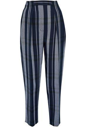3.1 Phillip Lim Woman Pleated Striped Crepe Tapered Pants Midnight Blue