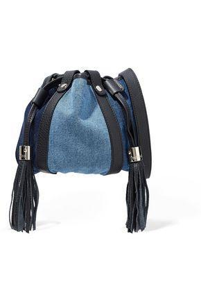See By ChloÉ Woman Leather-trimmed Denim Shoulder Bag Mid Denim