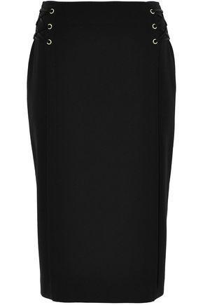 Jason Wu Woman Lace-up Pleated Crepe Skirt Black
