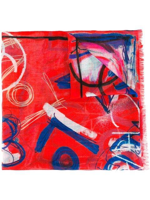 Chanel Vintage Illustrative Print Scarf - Red