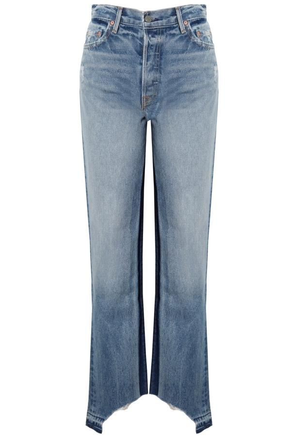 Grlfrnd Helena Distressed High-rise Straight-leg Jeans In Mid Denim