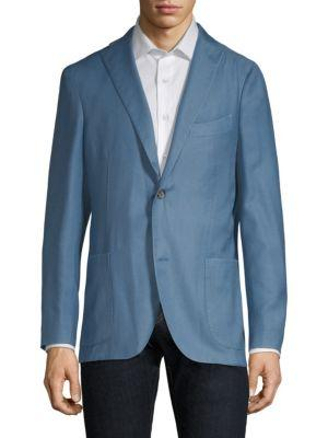Boglioli Sky Blue Wool Twill Jacket In Light Blue